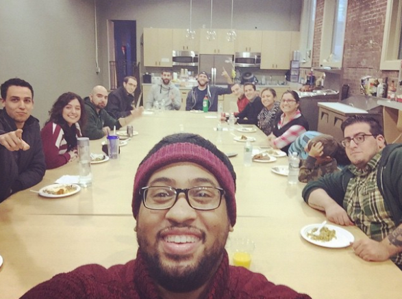 Here's a photo from my office's pre-Thanksgiving lunch with co-workers who are family.
